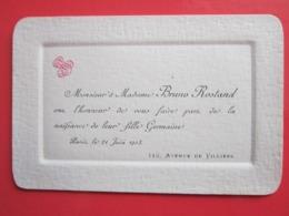 Photo Identifiée Mr & Mme Bruno ROSTAND Faire Part De La Naissance De Leur Fille Germaine - Paris Le 21 Juin 1903 - Personnes Identifiées