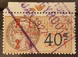 NO11 #46 - Lebanon 1927 2 Ps (Vermilion) On 40c Bistre Fiscal Revenue Stamp, R & L Are Space Wider - Lebanon