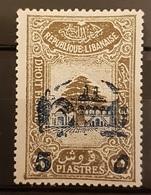 "NO11 #147 - Lebanon 1942 Cedar Design 3p60 Fiscal Revenue Overprinted ""5"" And Beit-ed-Din Palace - Líbano"