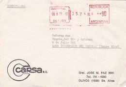 """CARCA"" COMMERCIAL COVER, CIRCULATED OLIVOS TO CONCEPCION DEL URUGUAY, ENTRE RIOS, ARGENTINA. YEAR 1977 -LILHU - Argentina"