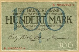 Allemagne 100 Mark  Mannheim 15 Décembre 1918 - [ 3] 1918-1933 : República De Weimar