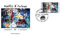 FDC Wallis Et Futuna De 2013 - Jardin De L'océan. Composition Avec Des Poissons, Coquillage Et Hutte. - FDC