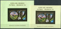 Soccer Football Equatorial Guinea Bl A81 + A81 Small Size MNH ** 1974 World Cup Germany - Fußball-Weltmeisterschaft