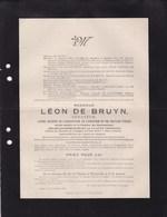 TERMONDE Léon DE BRUYN Sénateur Ancien Ministre Burgemeester 1838-1908 Château De RONSEVAAL SCHELLEKENS - Décès