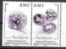 TAAF , FRENCH ANTARCTIC, 2020, MNH,MINERALS, AMETHYSTE, 2v - Minéraux