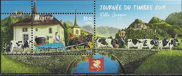 SWITZERLAND, 2019, MNH, STAMP DAY, BRIDGES, COWS, HORSES,MOUNTAINS, S/SHEET - Día Del Sello