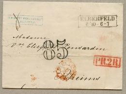 Taxe 85 Double Trait + PR.2 R.      D'Eberfeld Pour Reims En 1855 - Marques D'entrées