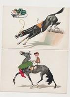 4 Cpa Fantaisie Humoristiques Dessinées . / Cheval De Course , Jockey , Saut D'obstacle - Humor