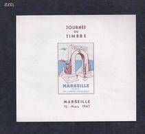 2 Feuillets Vignette Journee Du Timbre 1947 Marseille Dentelé Et Non Dentelé Draim - Expositions Philatéliques