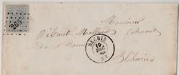 Leopold I, 10cts Grijs - Op Brief L266 Nechin Bléharies - Licht Postbusstempel Rechts Boven -  19/12/66 - 1865-1866 Profile Left