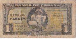 BILLETE DE ESPAÑA DE 1 PTA DEL 4/09/1940 SERIE E CARAVELA  (BANKNOTE) - 1-2 Pesetas