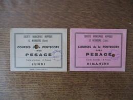 LE NEUBOURG (EURE) SOCIETE MUNICIPALE HIPPIQUE COURSES DE LA PENTECOTE 1965 2 TICKETS PESAGE DIMANCHE ET LUNDI - Tickets D'entrée