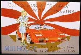 FRANCE Carte Postale Ilustration Exposition Automobile Sport Et Prestige MULHOUSE (Haut-Rhin) 1988 Parc Des Expositions - PKW