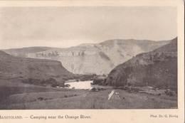 Post Card /   Basutoland  (Lesotho)   Camping Near The Orange River   Ph Hertig Sesuto Book Depot - Lesotho