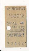 Ticket De Métro De Paris ( Métropolitain ) 2me Classe  ( Station ) SEVRES BABYLONE C - Métro