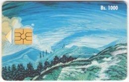 VENEZUELA A-394 Chip CanTV - Painting, Landscape, Mountains - Used - Venezuela