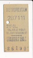 Ticket De Métro De Paris ( Métropolitain ) 2me Classe  ( Station ) STRASBOURG ST DENIS C  ( Strasbourg Saint Denis ) - Métro