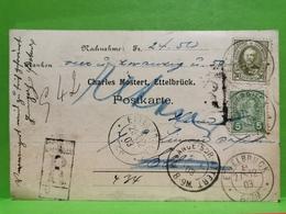 Luxembourg, Entier Postaux, Oblitéré Ettelbruck, 1903. Timbre Adolphe 30c. Recommandé - Stamped Stationery