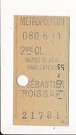 Ticket De Métro De Paris ( Métropolitain ) 2me Classe  ( Station ) ( Saint ) ST SEBASTIEN FROISSART ( Peu Courant ) - Métro