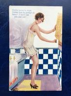 """Cpa --""""Femme Se Préparant Pour Son Bain  """"--(844) - 1900-1949"""