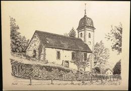 FRANCE Carte Postale Dessin Illustration René MINERY : Le Temple De 1768 à BEUTAL (Doubs) 1986 [GR] - Künstlerkarten