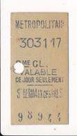 Ticket De Métro De Paris ( Métropolitain ) 2me Classe  ( Station ) ( Saint ) ST GERMAIN DES PRES - Europa