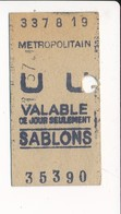 Ticket De Métro De Paris ( Métropolitain ) Classe Non Mentionnée  ( Station ) SABLONS - Métro