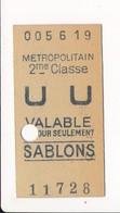 Ticket De Métro De Paris ( Métropolitain ) 2me Classe   ( Station ) SABLONS - Métro