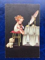 """Cpa --""""Fillette Fesant Sa Toilette Sous L'oeil Amusant Se Son Petit Chiot""""--(852) - Szenen & Landschaften"""