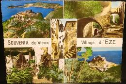 FRANCE Carte Postale EZE (Alpes-Maritimes) : Ruelle Pont Arche Jardin + Flamme Aéroport Nice  1961 [GR] - Eze