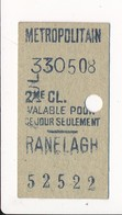Ticket De Métro De Paris ( Métropolitain ) 2me Classe   ( Station ) RANELAGH - Métro