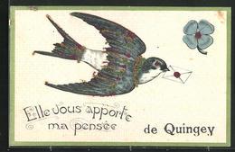 CPA Quingey, Elle Vous Apporte Ma Pensee, Pigeon Et Fleur - France