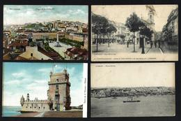 Conjunto De 4 Postais Antigos De LISBOA. Lot Of 4 Old Postcards PORTUGAL 1910 - Lisboa