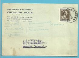 845 Op Kaart Stempel MECHELEN ,met Hoofding BRASSERIE-BROUWERIJ CHEVALIER MARIN - 1936-1957 Open Kraag