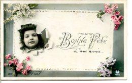 Fillette - Fond Crevé - Carte De Visite Décorée Fleurs - Bonne Fête - Photo LE NORMAND - Ritratti