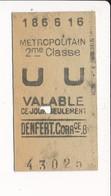 Ticket De Métro De Paris ( Métropolitain ) 2me Classe ( Station ) DENFERT CORRCE  B ( Correspondance ) - Métro