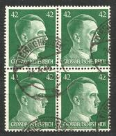 GERMANY. MARCH 1945. 42pf USED BLOCK OF FOUR. DIERINGHAUSEN - Other