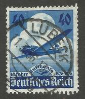 GERMANY. 40pf AIRPLANE USED LUBECK POSTMARK - Other