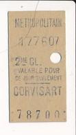 Ticket De Métro De Paris ( Métropolitain ) 2me Classe ( Station ) CORVISART - Métro