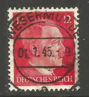 GERMANY. 12pf USED WESERMUNDE JANUARY 1945 POSTMARK - Other