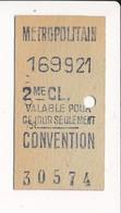 Ticket De Métro De Paris ( Métropolitain ) 2me Classe ( Station ) CONVENTION - Métro