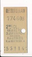 ♥ RARE ♥ Ticket De Métro De Paris ( Métropolitain ) 2me Classe ( Station )  RUE DES BOULETS RUE DE MONTREUIL A - Métro