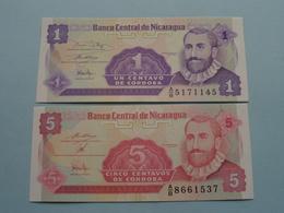 Un & Cinco CENTAVOS De Cordoba > Banco Central De Nicaragua ( For Grade, Please See Photo ) UNC ! - Nicaragua