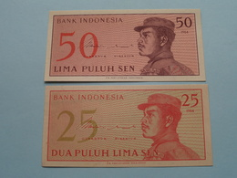 50 LIMA PULUH SEN & 25 DUA PULUH LIMA SEN Bank Indonesia ( For Grade, Please See Photo ) UNC ! - Indonésie