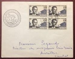 686 Jeux Universitaires Mondiaux Antony Seine 3/9/1957 Léo Lagrange 1120 Bloc 4 Lettre - Postmark Collection (Covers)