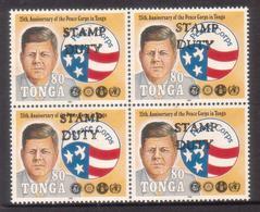 Tonga 1992 Kennedy JFK Handstamped Stamp Duty - Very Scarce - Kennedy (John F.)