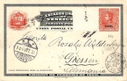 1901- C P E P  10 Cent.  + 1900  To Germany - Maritim French Mark  LIGNE D / PAQ.FR/ N°2 - Venezuela