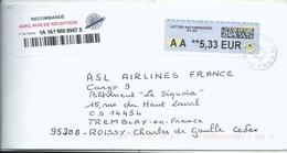 Vignette De Distributeur LISA - ATM - Avec Code Datamatrix - AA = Lettre Recommandée - 2000 «Avions En Papier»