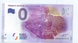 2016 BILLET TOURISTIQUE 0 Euro   Train A Vapeur Des Cevennes   Dpt 30  Port 1.30 - Essais Privés / Non-officiels