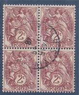 = Bloc De 4 Timbres Type Blanc 2c Brun Lilas Oblitéré N°108 - 1900-29 Blanc